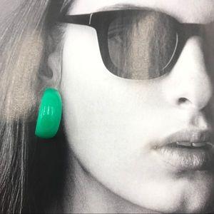 FREE with Purchase Vintage Green Earrings Hoop 80s